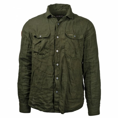 AMUNDSEN SAFARI LINEN SHIRT MENS / Olive