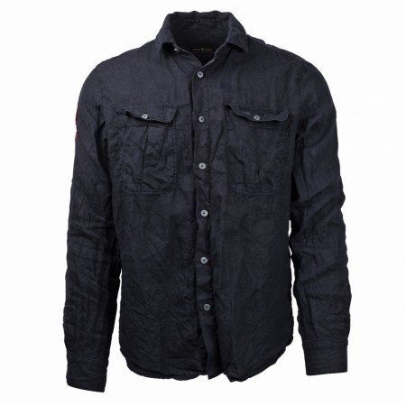 AMUNDSEN SAFARI LINEN SHIRT MENS / Faded navy
